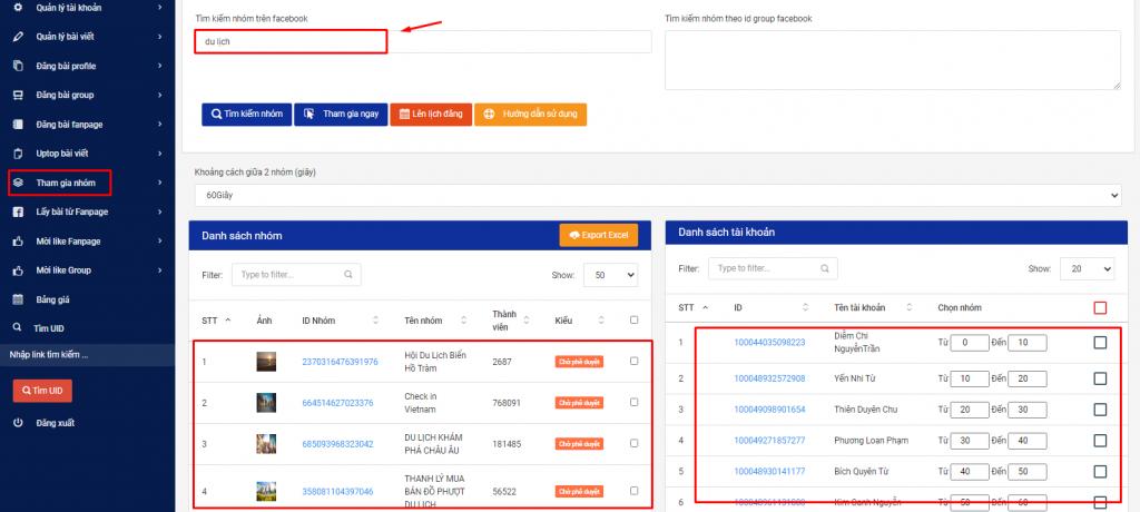 Phần mềm đăng bài quảng cao facebook hỗ trợ tìm kiếm nhóm theo từ khóa để tham gia