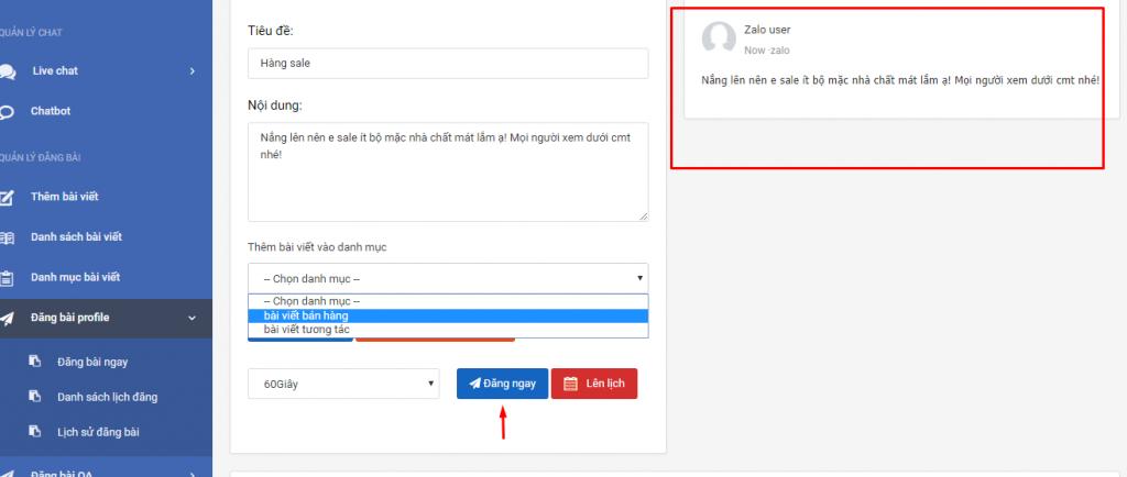 Tự động đăng bài trên phần mềm quản lý bán hàng zalo