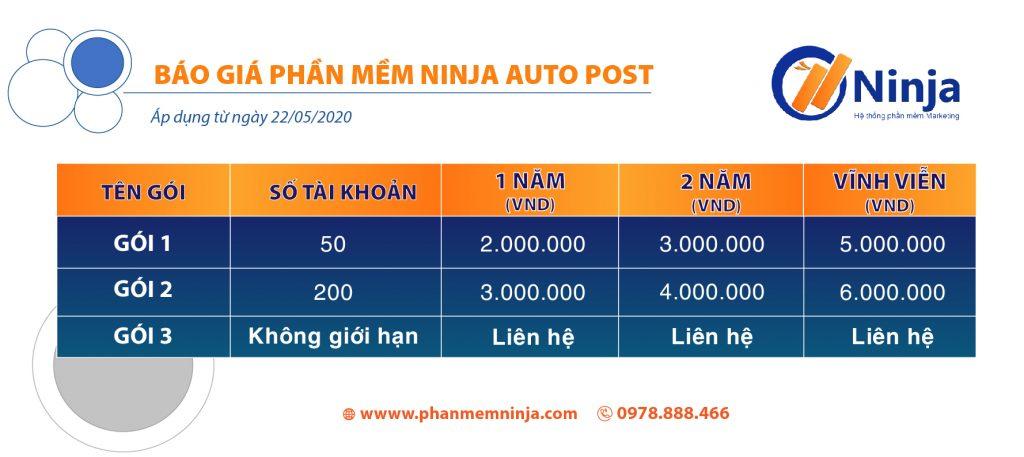 Bảng báo giá phần mềm Auto post